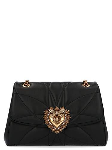 Gabbana Leder Handtasche Schwarz (DOLCE E GABBANA Damen Bb6728av96780999 Schwarz Leder Schultertasche)