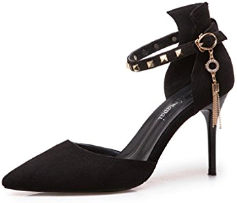 Frühlingsniet-Frauenschuhe wies dünne hohe Absatzart und weise reizvolle Schnalle Frau High-heeled Schuhe ( Farbeö