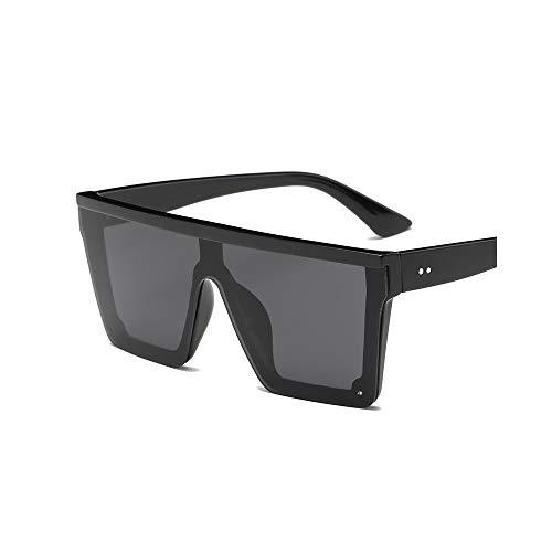 WJFDSGYG Männlich Flat Top Sonnenbrille Männer Schwarz Square Shades Uv400 Gradient Sonnenbrille Für Männer Cool One Piece Designer