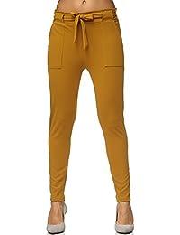 0ef53022c28a4e Elara Damen Stretch Hose | Gummibund | Stoffhose mit Schleife | Slim Fit |  Chunkyrayan