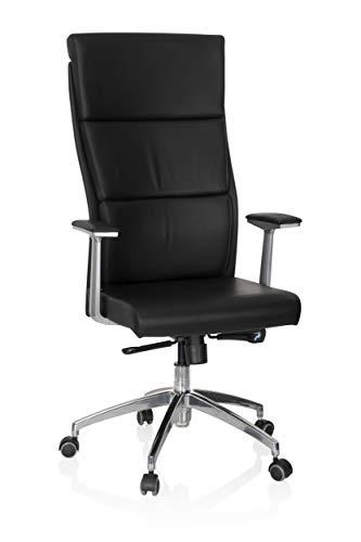 hjh OFFICE 600400 Chefsessel Monza 20 Leder Schwarz Bürostuhl gepolstert, hohe Rückenlehne, ergonomisch