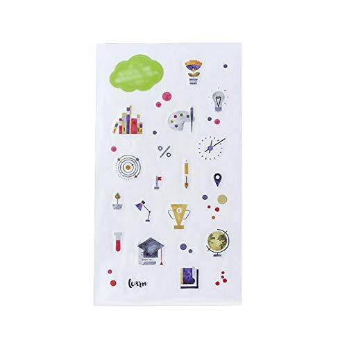 CAOLATOR 3 Blatt Wissenschaft Motiv Aufkleber Sticker Mädchen Sticker Set Schön Kinder Papier Spielzeug Aufkleber DIY Tagebuch Scrapbooking Stickers