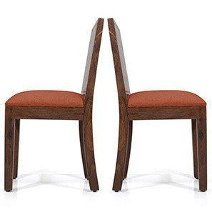 Urban Ladder Oribi Solid Wood Dining Chairs, Set of 2 (Teak Finish Finish, Burnt Orange)