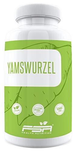 Yamswurzel Extrakt 180 Kapseln, 1000 mg pro Tagesportion (2 Kapseln) mit 20% Diosgenin, vegan und ohne chemische Zusätze – von der Profisport-Marke FSA Nutrition, Hergestellt in Deutschland