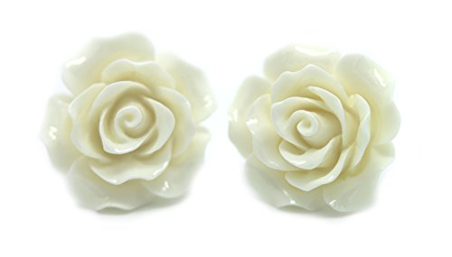 Orecchini a perno con Rose intagliate bluebubble English Rose 22 mm Bianco Neve con scatola regalo