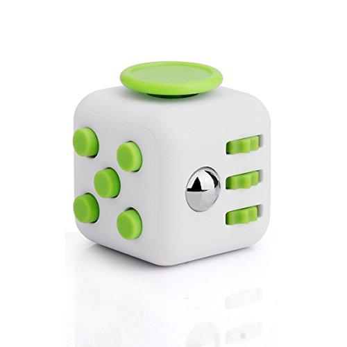 Stresswürfel wie Fidget Cube als Perfektes Spielzeug für Unterwegs Gegen Stress und unruhige Hände,lindert Stress, Angst und Entspannung für Kinder und Erwachsene,bei der Arbeit oder im Wartezimmer(Weiß+Grün) thumbnail