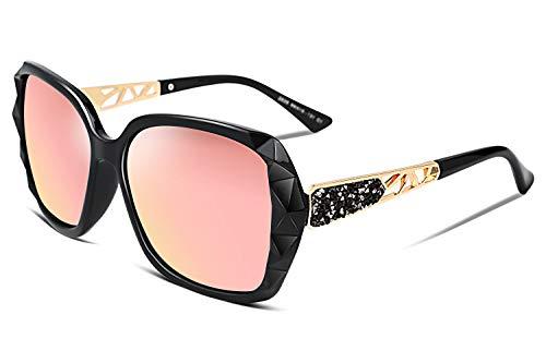 FEISEDY Übergroßes Sonnenbrillen für Frauen Polarized UV Protection Fashion Sparkling Composite Frame B2289 (PINK2, 58)