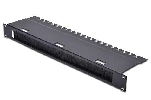 DIGITUS Kabel-Durchführung mit Bürstenleiste & Kabel-Abfang - 1HE - 19-Zoll - Netzwerk-Schrank - Patch-Kabel - Schwarz