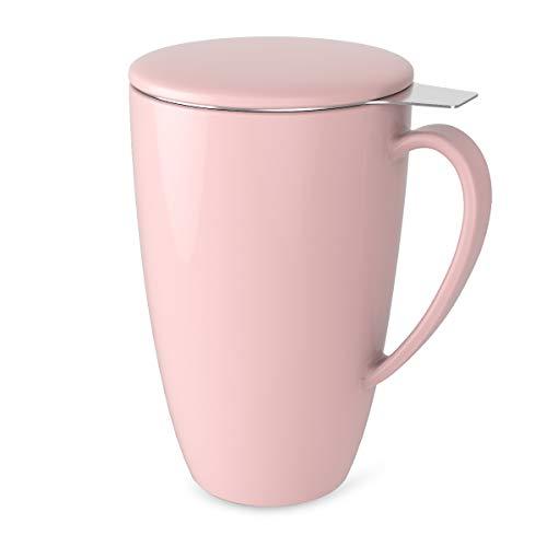 Sweese 2108 Teetasse mit Deckel und Sieb, Becher aus Porzellan für Losen Tee Oder Beutel, Rosa, 400 ml