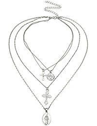 LUREME Vintage European Virgin Crucifix Cadena de Metal de múltiples Capas Collar Largo para Mujeres (nl006168)