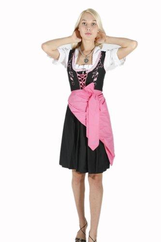 3tlg. besticktes Dirndl Set Noir Rose avec chemisier et schuerze Rose - Noir/rose
