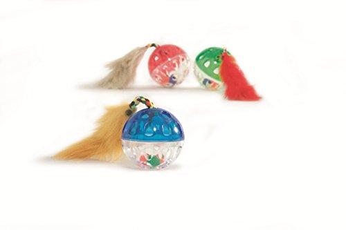 katzeninfo24.de BEEZTEES Katzenspielzeug: 6 x Ball mit Maus & Plüschschwanz Ø 4,5cm #0419842