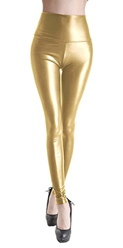 ZIOOER Damen Latexlook Leder Leggins Hohe Taille Wetlook Leggings Hüfthoch Strumpfhose High West Hose Gold L (Leggings Gold Damen)
