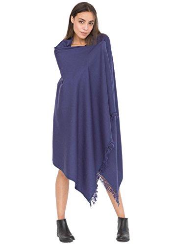Châle 'Shoreditch' en laine mérinos (Echarpe extralarge 100 X 200cm) Bleu Marine
