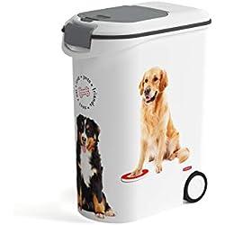 CURVER | Conteneur à croquettes 54L/20Kg - Love pets - Chien, Blanc, Pet dry food container, 49,3x27,8x60,5 cm