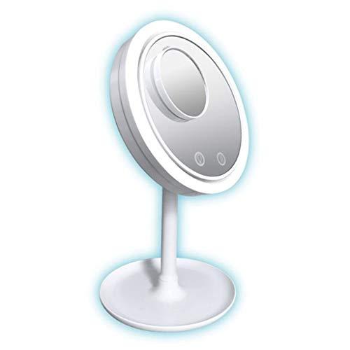 JieGREAT - Specchio da trucco con ventaglio, 3 in 1, illuminato, con  ventaglio 5 x Mag