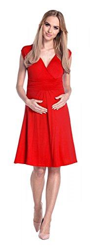 Happy Mama Damen Umstandskleid Ausgestellter Schnitt Sommerkleid Gr. 36-46 256p Rot