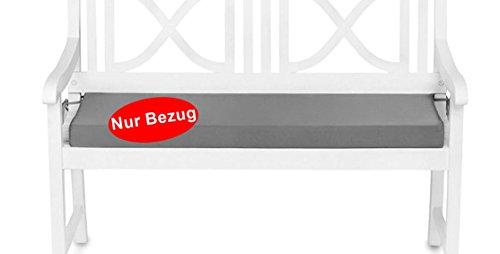 Bezug für Gartenbank Auflage Sitzkissen wasserabweisend (100x42x6cm) Grau