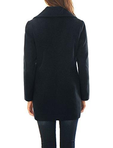 Allegra K Damen Gekerbtes Revers Zweireihig Kammgarn Langer Mantel Blau