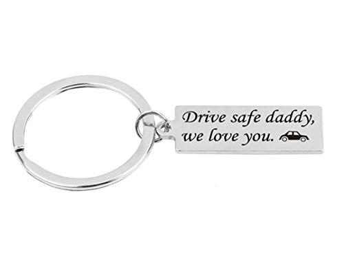 Anyeda Schlüsselanhänger Herren Edelstahl Rechteck-Tag Gravur Drive Safe Daddy,We Love You Schlüsselanhänger Papa Silber 3.2X1Cm