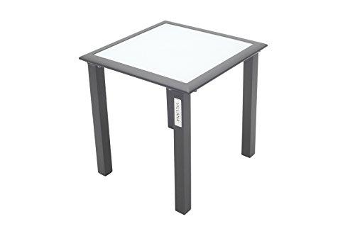 Villana stilvoller Beistelltisch aus hochwertigem Aluminium in schwarz, Tischplatte aus starkem Glas, ca. 45 x 45 x 45 cm, Kleiner Gartentisch, Kaffeetisch, Glastisch, Teetisch, wetterfest, zeitlos