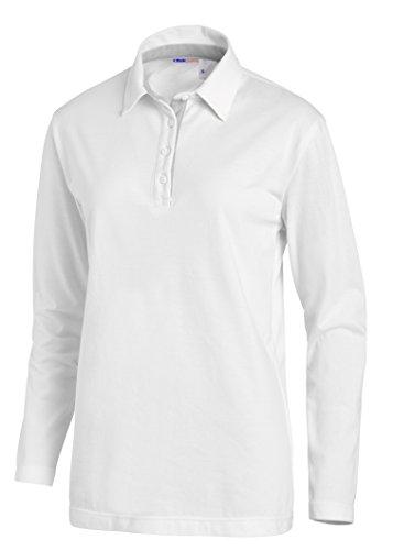 clinicfashion Polo-Shirt langarm Unisex weiß für Damen und Herren, Baumwolle Stretch, Größe XS-XXXL Weiß