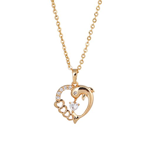 LUOEM Women Necklace Micro-inclosed Dolphin and Heart Shape Zincons Pierced Delicate Hollow out Necklace (Golden)