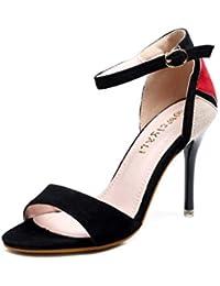 HRN Zapatos de Mujer Zapatos de tacón Alto de Gamuza de Color a Juego con  Punta Abierta Sandalias de Aguja Hebilla de una Sola Palabra… add25ded9506