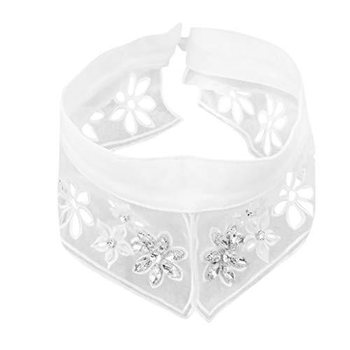 UJUNAOR Frauen Retro Gefälschte Abnehmbare Falsche Reverskragen Bluse Peter Pan Kragen(Weiß,One size)