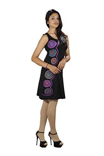 Frauen dehnbar Baumwolle ärmelloses Kleid - PAINTED CHAKRA Schwarz