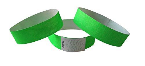 500unidades Tyvek de Festival bandas 255mm de largo), color verde neón