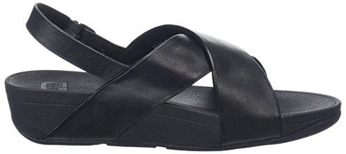 FitFlop Lulu Cross Back-Strap Leather, Sandales Bout Ouvert Femme, Noir Noir (noir)
