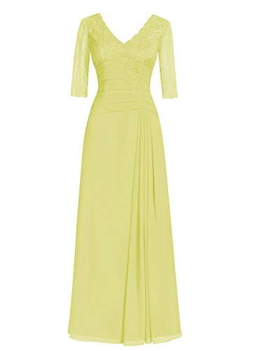 Dresstells Damen Abendkleider Bodenlang Homecoming Kleider Cocktail-Kleider Gelb
