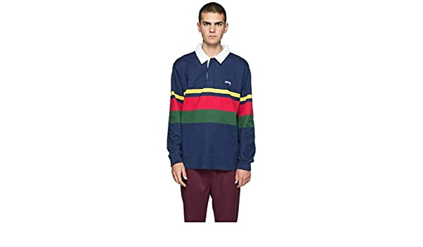 fdd88dc93ce Stussy Lucas Stripe Long Sleeved Rugby Shirt Navy Large: Amazon.co.uk:  Clothing