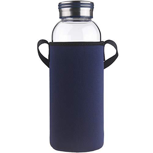 Cleesmil Trinkflasche Glas Wasserflasche mit Neoprenhülle Glasflasche 1500 ml /1.5 L (Blau) 1.5 Liter Glas