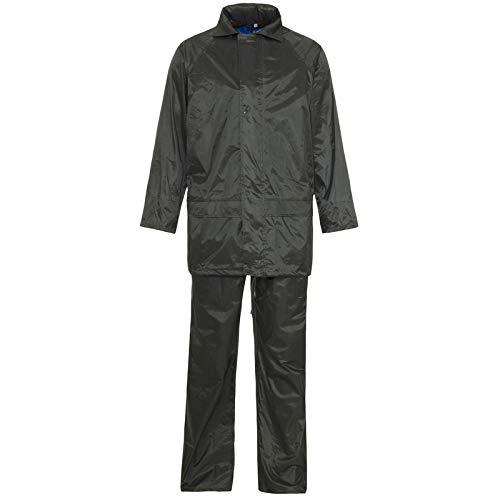 Hi Vis Viz & Plain Rainsuit 2 Piece Set High Visibility Unisex Hooded Puddle Rain Suit Jacket & Trousers Waterproof PVC Workwear Rain Wear Size S-4XL