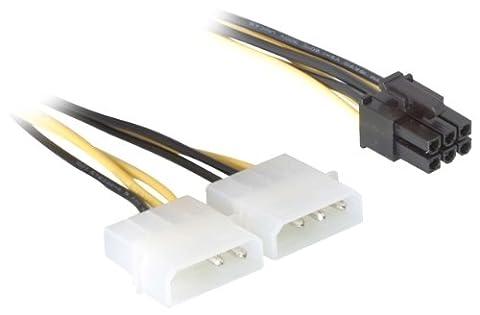 DeLock Stromkabel für PCI Express Karten Netzkabel intern 1 x 6 pol auf 2 x 5.25 Stecker 0.15 m