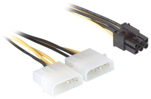 DeLock Stromkabel für PCI Express Karten Netzkabel intern 1 x 6 pol auf 2 x 5.25 Stecker 0.15 m - Pcie-amp