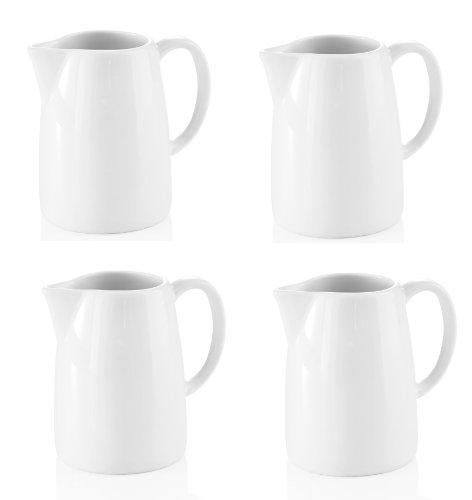 4 Stück Milchgießer Gießer 0,15 Liter Inhalt aus Porzellan in Weiß 8,3 cm Höhe