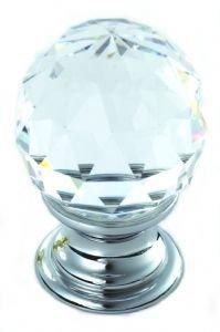 Chrom, Bleikristall (Bleikristall facettiert Schrank Knauf, 18mm Rose 25mm Knauf CLEAR luzent chrom)