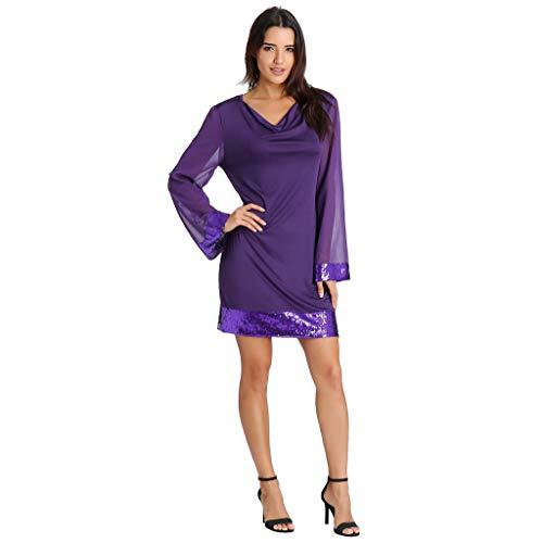 iYmitz Damen Beiläufig V-Ausschnitt Pailletten gekräuselten Frauen Chiffon Langarm Stitching Minikleid Ballkleid Kleider Partykleider(Violett,EU-38/CN-S)