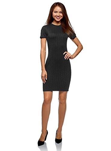 oodji Ultra Damen Enges Kleid mit Reißverschluss, Schwarz, DE 42 / EU 44 / XL Schwarz Reißverschluss Kleid