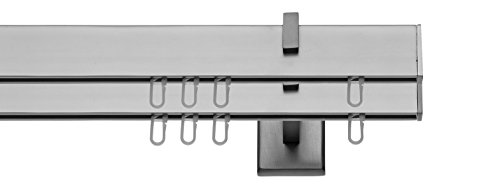 gardinenstangen innenlauf Tilldekor Innenlaufsystem Gardinenstange SQUARE-LINE kantig - aluminium - 120 cm, 2-Lauf