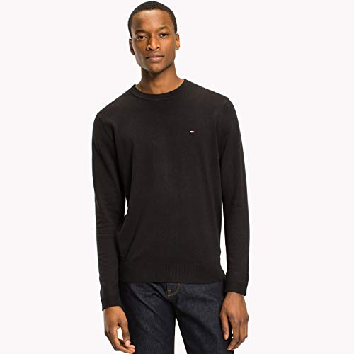 Tommy Hilfiger Herren CORE Cotton-Silk CNECK Pullover, Schwarz (Flag Black 032), Small
