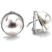 Pendientes plata Ley 925m media perla bocel 14mm. [AB1437]