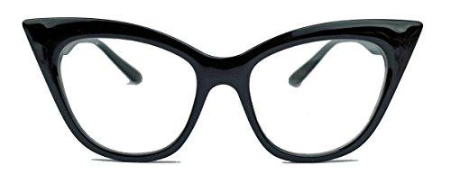 50er 60er Jahre Damen Retro Brillengestell Cat Eye Nerdbrille Klarglas CN61 (Schwarz)