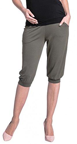 Zeta Ville - Maternité pantalon capri élastique bande de ventre - femme - 665c Kaki