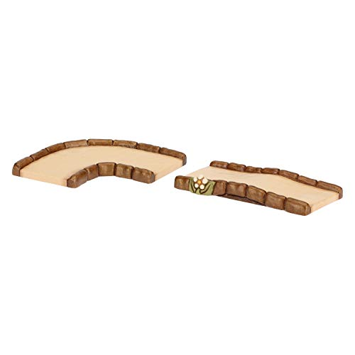 Thun® - set 2 pezzi strada dritta e strada curva - statuine presepe classico - ceramica - i classici