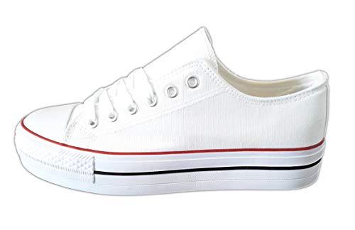 Zapatillas Blancas Mujer Plataforma Deportivas Canvas