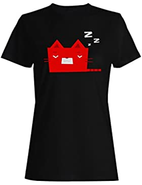 Novedad divertida de la cara del sueño del gato sonriente camiseta de las mujeres a534f